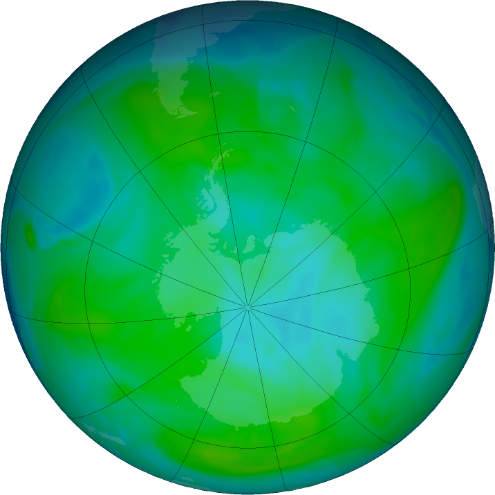 Antarctic ozone map for 01 January 2019